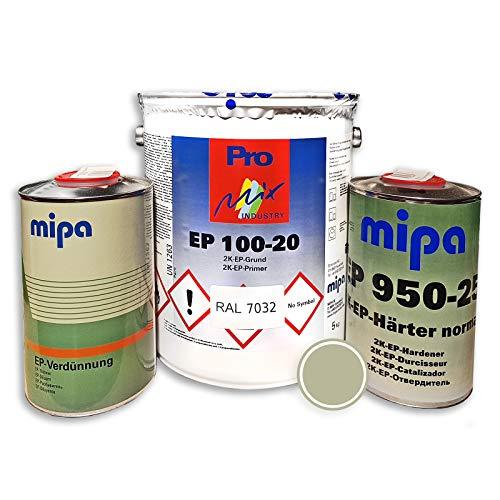 Mipa 2K EP 100-20 Grundierung Epoxidharz RAL7032 + Härter + Verdünnung 8 kg