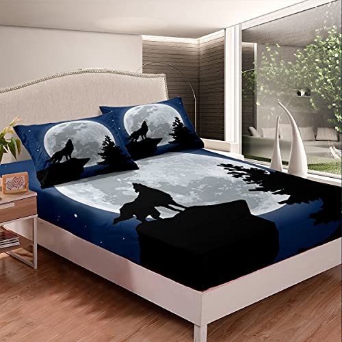 Wolf - Juego de sábanas de cama para niños y niñas con diseño de animales en 3D, diseño de búhos en 3D, diseño de luna, decoración de noche, sábana bajera ajustable, 3 unidades, tamaño doble