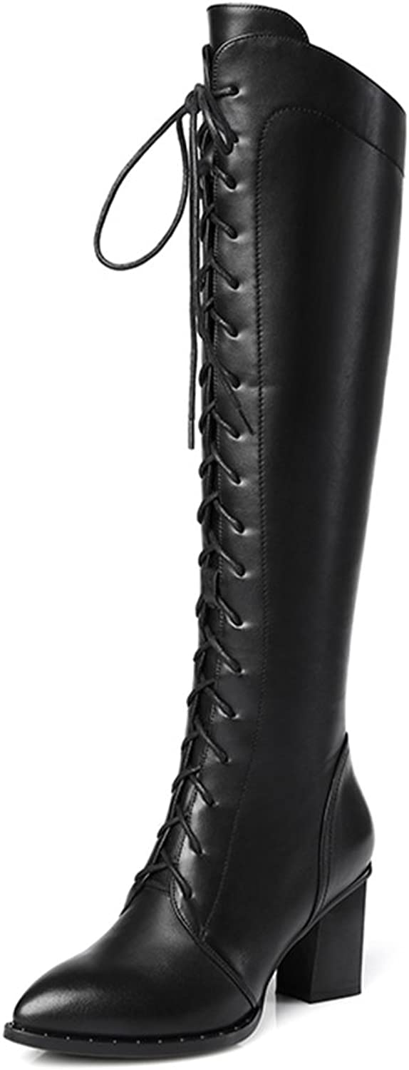 Chensir9 Women Leather Riding Boot Over The Knee Boot