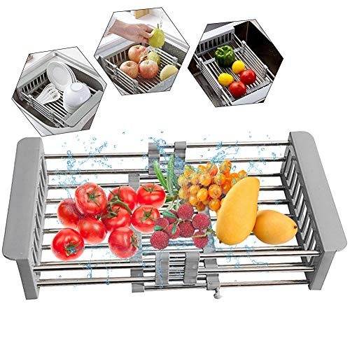 Dish Drying Rack and Utensil Holder Large Dish Rack Drainer Drain Expandable Multipurpose Kitchen Sink Rack Mat Stainless Steel Cutlery Holders for Dishes, Cups, Fruits Vegetables(Grey)