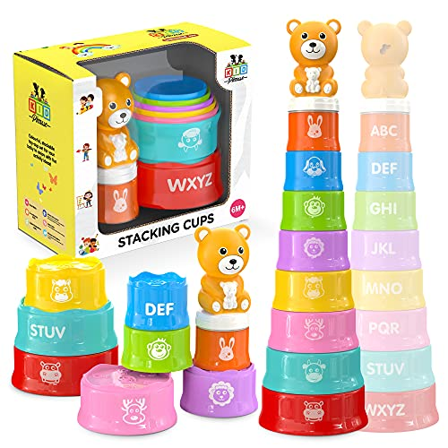 KID PICASSO Stacking Cups Baby Toy - Educational Set for Toddlers with Printed...