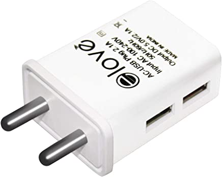 Elove Dual Port USB Charger Adapter with 2.1 Amp Power Supply for All Android and IOS Devices ( Data Cable Not Included ) - White