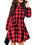 YOINS Vestidos Mujer a Cuadros Elegante Camiseta de Manga Larga con Cuello en V Blusa con Cinturón Sexy Mini Empalme 1~Melón Rojo XL