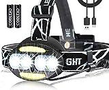 Linterna frontal recargable, 10000 lm, 5 modos de iluminación, industrial, muy ligera, impermeable, ajustable, lámpara frontal para pesca, camping, correr