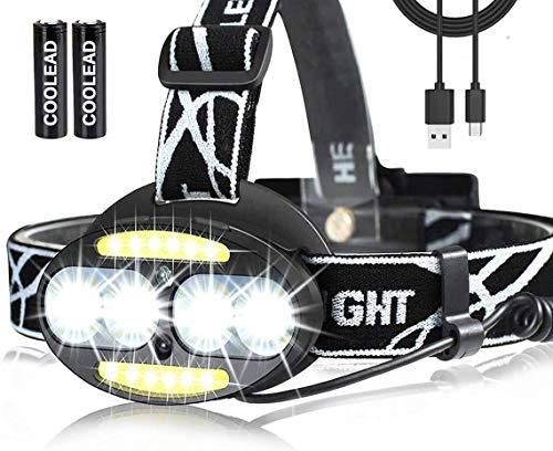 Torcia Frontale Ricaricabile 10000LM 5 Modalità 6LED,Sensore Movimento,Regolabile,Impermeabile,Lampada Frontale per Escursioni, Campeggio,Ciclismo,Corsa, Speleologia, Pesca.
