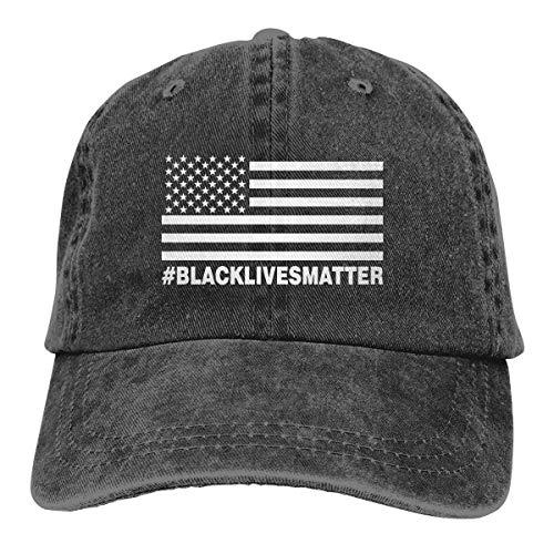 AOOEDM Black Lives Matter Unisex Sombreros de Vaquero Deporte Sombrero de Mezclilla Gorra de béisbol de Moda Negro