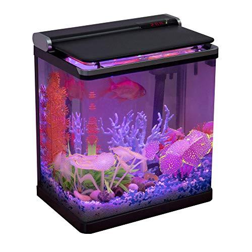 Hygger 水槽セット 観賞魚飼育セット アクアリウムセット グラス 15L タッチスクリーン リアルタイム水温表示 四つ照明モード LEDライト・ポンプ・フィルターが統一された 静音 省エネ メダカ 熱帯魚 水槽 インテリア