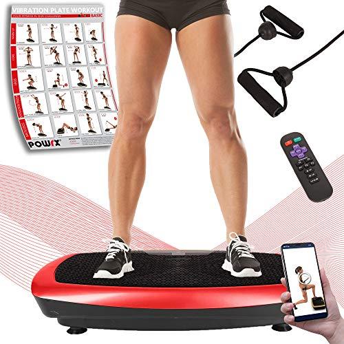 POWRX Vibrationsplatte Basic Duo | Fitness Trainingsgerät inkl. Fernbedienung und Tubes Widerstandsbänder | Große rutschfeste Fläche für Ganzkörper Training (Schwarz-Rot)