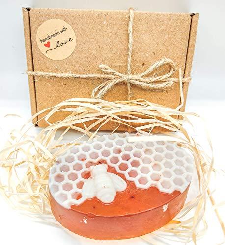Handgemachte Honigseife BIO Naturseife Vegane Seife Feuchtigkeitsspende Honigseife mit Propolis und Traubenkernöl für alle Hauttypen Premium Qualität von Bio Land