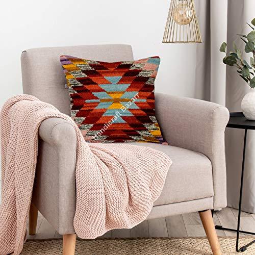 Handicraft Bazarr 18'' Handwoven Living Room Bedding Accessory Bed Pillow Cover Ethnic Floor Throw Sham Euro Sofa Cushion Case Moroccan Vintage Rug Jute Pillow Throw Bed Pillow