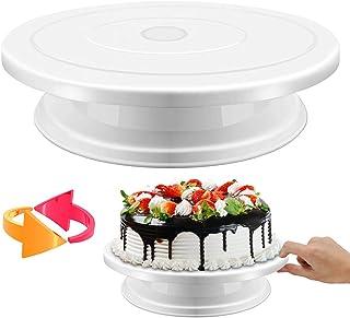 SOEKAVIA ケーキ回転台 ケーキ装飾台 ケーキ作り用 ターンテーブル ベーキング ツール デコレーション用 ケーキスタンド 目盛り PPプラスチック 滑り止め カラーボッ...