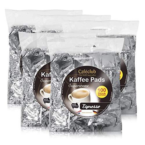 5x Cafeclub Espresso Kaffeepads Megabeutel je 100 stk. dunkle Röstung einzeln verpackt