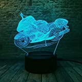 YANGHX 3D Illusion Lamp Motorcycle Illusion Desk Light Novelty USB LED Table Lamp 100~240v Night 7 Color Touch Switch Change LED Desk Table Light lamp (Color: Multicolor)