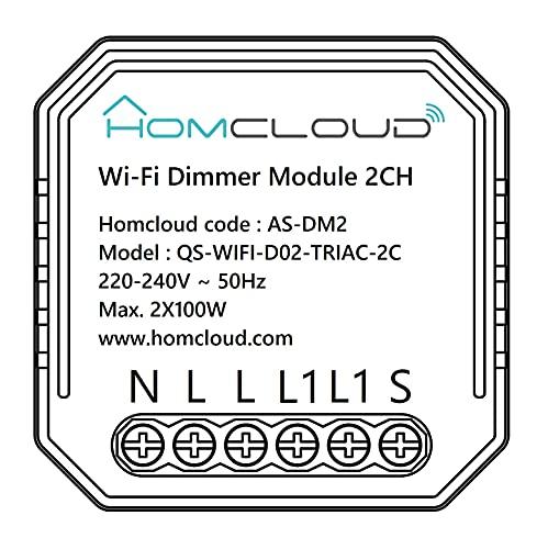Homcloud Modulo Smart Dimmer Intelligente Wi-Fi 2 canali da incasso, controllo da APP, Alexa o Google