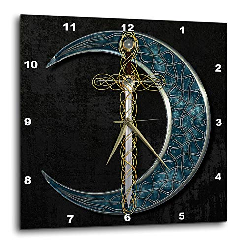 3dRose Wall Clock - A Celtic Moon with a Fantasy Sword. (DPP_333404_2)