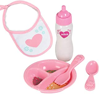 Adora Baby Doll Accessories Magic Feeding Set - Magic Plate, Magic Baby Doll Bottle with Milk, Bib, Fork & Spoon