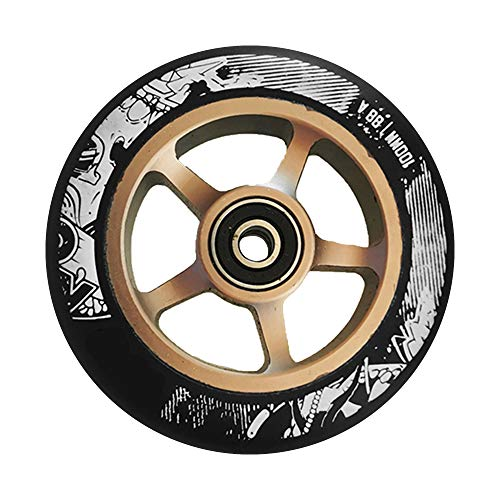TGHY 2 Piezas Rueda de Repuesto para Patinete con Rodamientos ABEC-9 Núcleo de Metal CNC Rueda de Patinete Pro Stunt para Niños Adolescentes Adultos,Oro