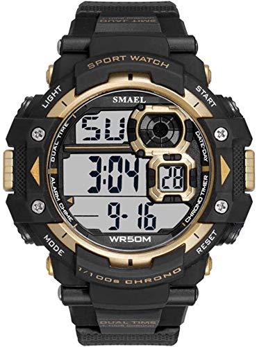 AYDQC El Deporte for Hombre de los Relojes, Relojes Digitales, Pantalla LED Reloj Reloj de Pulsera Impermeable con Pulsera de Goma fengong