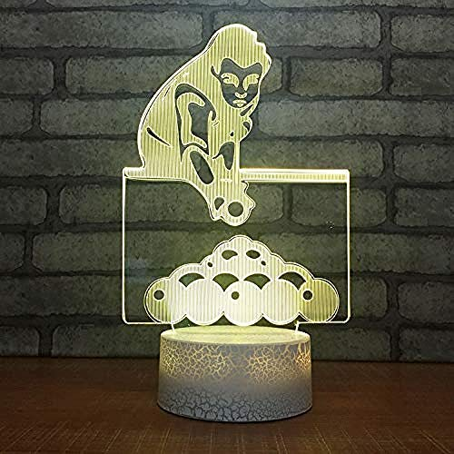 Snooker Billard Modell Riss optische Täuschung Lampe führte 3D-Lampe Nachtlicht Acryl Atmosphäre Lampe 7 Farbe moderne Lampe