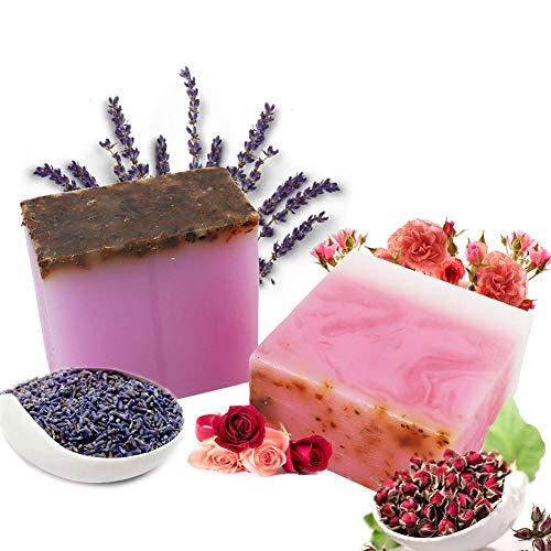 Rosa & Lavanda Jabon - Jabones Natural Eco Barras Manos Facial y Cuerpo Limpieza Profunda Hidratante Cuidado Acné Piel Seca Desintoxicante Exfoliante para Mujer y Hombre 100 gr x 2 pcs
