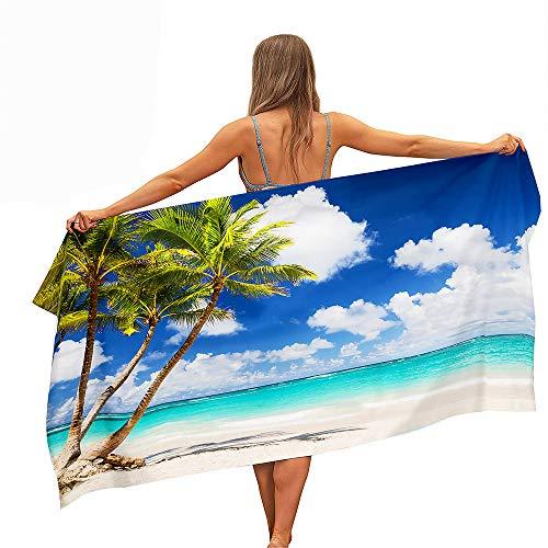 Surwin Grande Toalla de Playa de Microfibra Toalla a Impresión de Secado Rápido Súper Absorbente Natación Toalla de Arena Antiadherente para Playa, 3D Impresión (Árbol de Coco-Playa,70x150cm)