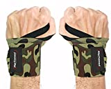 Rip Toned Wrist Wraps - 18' Professional Grade with Thumb Loops - Wrist Support Braces - Men & Women - Weight Lifting, Crossfit, Powerlifting, Strength Training (Green Camo – Less Stiff)