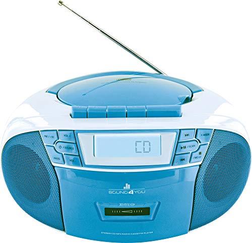 SCHWAIGER 661651- Tragbarer CD-Player mit Kassette und Radio MP3 USB Anschluss UKW FM Radio AUX Kopfhörer Boombox Stereo für zuhause und unterwegs Netz- und Batteriebetrieb Display