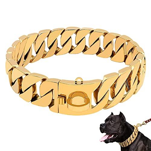 LINGYUN Goldkette Hundehalsband Hochleistungs-Choke Kubanische Hundekette für Große Hunde, 30 Mm Breite, Hundehalsband, Starke Stahlmetallglieder für Große Rassen,Gold,65CM/25.5in