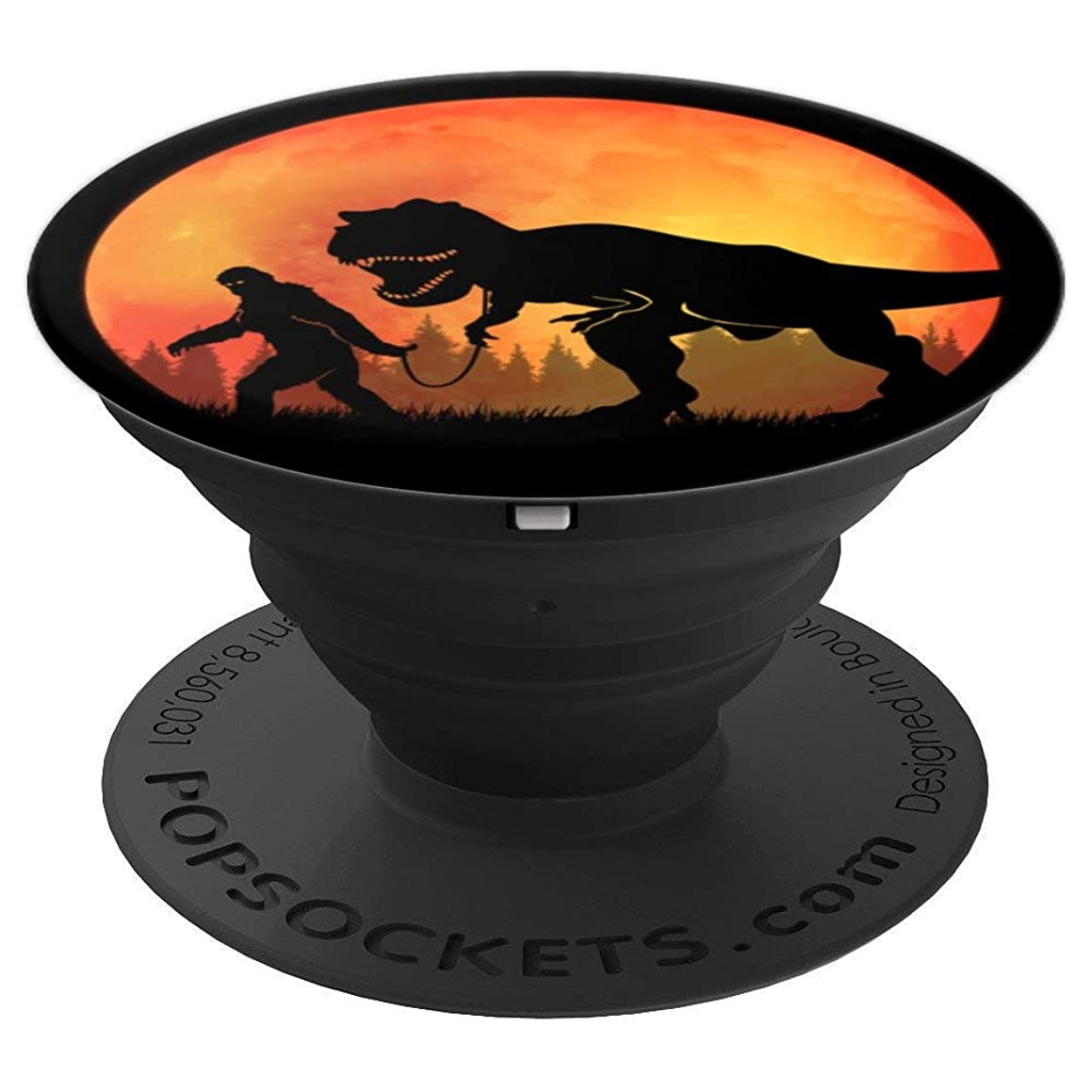 Bigfoot Walking Dinosaur Sasquatch Tyrannosaurus Rex Moon - PopSockets Grip and Stand for Phones and Tablets