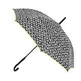 Paraguas Vogue. Paraguas Mujer estampado blanco y negro floral. Paraguas largo automático y antiviento. Paraguas original y elegante.