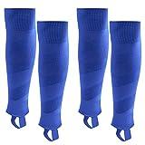 Northdeer Herren Stutzen Fussball Kinder Jugendliche Fußballstutzen Stegstrümpfe Sleeve Fußballsocken mit Steg 2 Paar (Blau L)