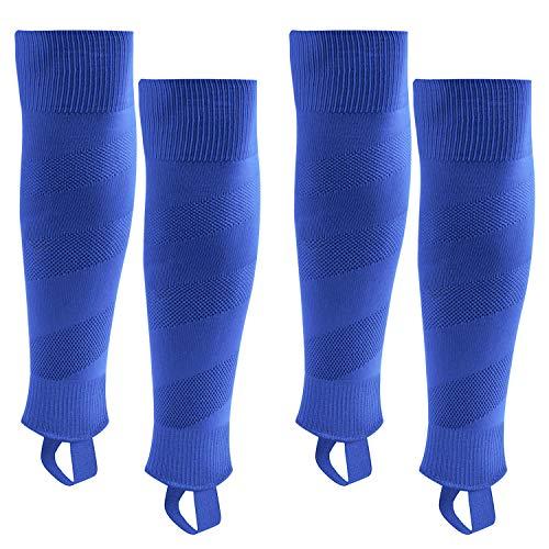 Northdeer Kinder Stutzen Fussball Herren Fußballstutzen Stegstrümpfe Sleeve Fußballsocken mit Steg 2 Paar (Blau S)