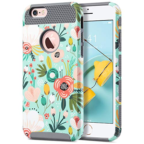 ULAK Cover per iPhone 6s, iPhone 6 Custodia con Design Slim con Doppio Strato di Protezione Anti collisioni in Silicone per Apple iPhone 6S / iPhone 6 (4.7 Pollici), Mint Fiore