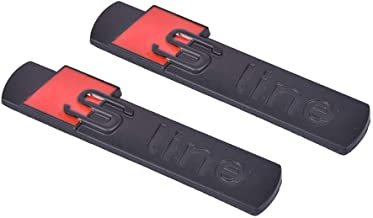 2x Sline Quattro Supercharged Alloy Emblem 3D Badge Blade Side Fender Sticker Replacement for Series A4 A6 A8 Q5 Q7 Tt Logo Black