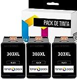 TONERPACK Pack 3 Cartuchos de Tinta para HP 303XL, Cartuchos de Tinta compatibles para HP 303XL Negro