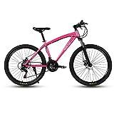 GAOTTINGSD Bicicleta de montaña MTB MTB Adulto Camino de la Bicicleta Bicicletas for Hombres y Mujeres 24En Ruedas Ajustables Velocidad Doble Freno de Disco (Color : Pink, Size : 24 Speed)