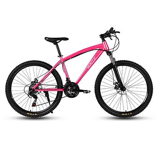 LILIS Bicicleta Montaña MTB MTB Adulto Camino de la Bicicleta Bicicletas for Hombres y Mujeres 24En Ruedas Ajustables Velocidad Doble Freno de Disco (Color : Pink, Size : 21 Speed)