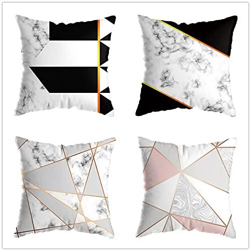 Juego de 4 Cuadrada Fundas de cojín Lino de algodón Throw Cojín Decorativas Geometría Abstracta para sofá Cama Dormitorio decoración 50x50cm(20x20in)