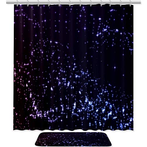 DEYYA Purple Starry Sky Shower Curtain Sets with Microfiber Non-Slip Bathroom Accent Rugs Liner Fabric Machine Washable 70.8'x70.8'/19.6'x31.4'