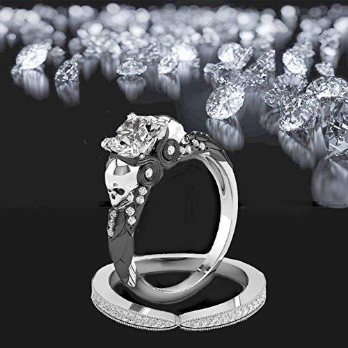 Azure Anillo de cráneo de diamante, juego de anillos redondos de cráneo, anillos de promesa de eternidad con circonita cúbica, anillos de compromiso para mujeres y hombres (plata negra, 7)