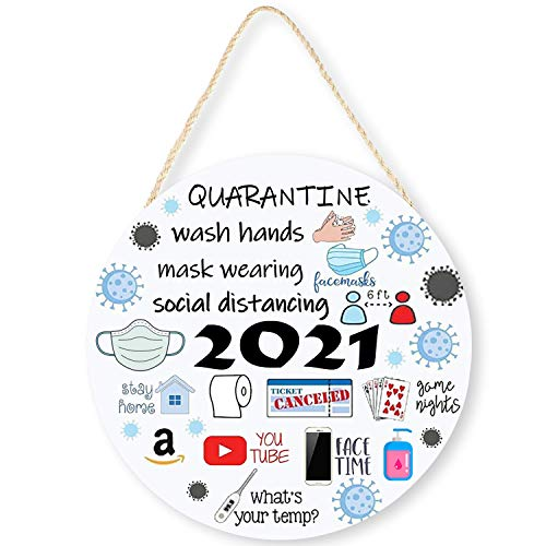 LEJHOME 2021 Ornament Quarantine Welcome Sign for Farmhouse Decorations, Wood Events Funny Door Hangers Front Porch Decor Sign Indoor Outdoor Home