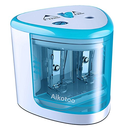 Electric Pencil Sharpener Christmas Gift Heavy Duty Blades Durable Quiet Pencil Sharpener Battery Operated Plug in with Automatic Sharpens Colored Pencils for Classroom Kids,Blue Pencil Sharpener
