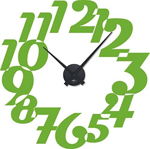 GRAZDesign wandtattoo klok met spreuk voor de woonkamer geschenk voor de zakelijke opening - buitengewone wandklokken grote getallen / 800399 Uhrwerk schwarz 063, lindegroen