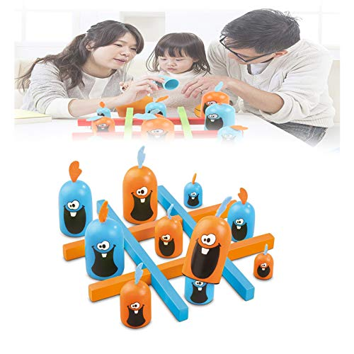 rfvg Gobblet Gobblers Tic TAC Toe Board Game, Big Eat Small Strategy Game Indoor,Fun Faces Wooden Strategy Game for Kids