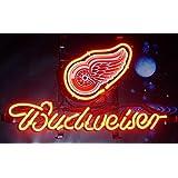 Desung B udweiser スポーツチーム D-Redwings ネオンサイン (各種サイズ) ビールバー パブ 男の部屋 ガラス ネオンライトランプ BW13 14 Inches