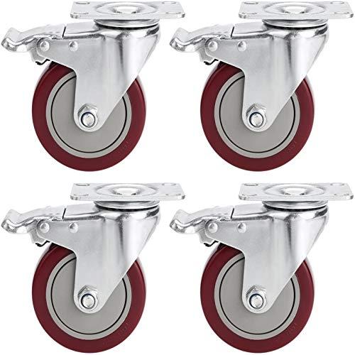 Voluker Set de 4 Ruedas Giratorias con Placa de Montaje,400 KG | 100mm,Ruedas Muebles con Freno, Ruedas con Freno Industrial