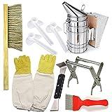 Imker Bienen Smoker Und Anfänger Set,mit Handschuhe, Bienenenstock-Bürste, Königin-Greifklammer, Haken, ideal für professionelle Imker
