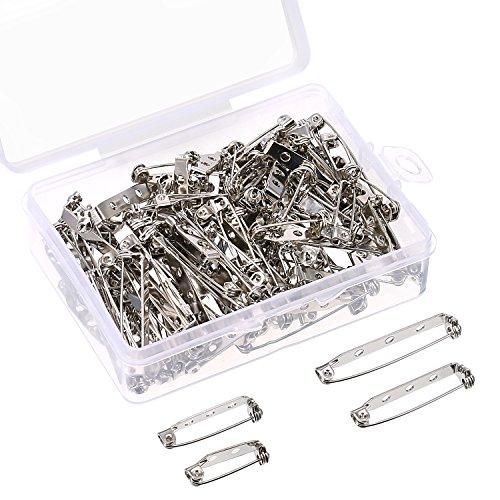 100 Stück Bar Pins Ton Brosche Pin Backs Sicherheitsverschluss mit Kunststoff-Box, 4 Größen 20 mm, 25 mm, 32 mm and 38 mm (Silber)