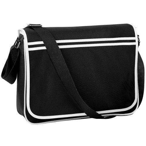 Bagbase Retro Messenger-Tasche, 12 Liter One Size,Schwarz/Weiß