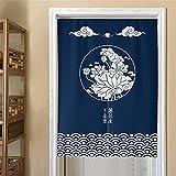 Hiseng Cortina de Puerta Azul Japonesa Noren para Decoración Hogar, Cortina de Puerta Impresa Estilo Chino Tradicional, Cocina de Dormitorio Media Cortina de Puerta (90x120cm,Flor De Loto)